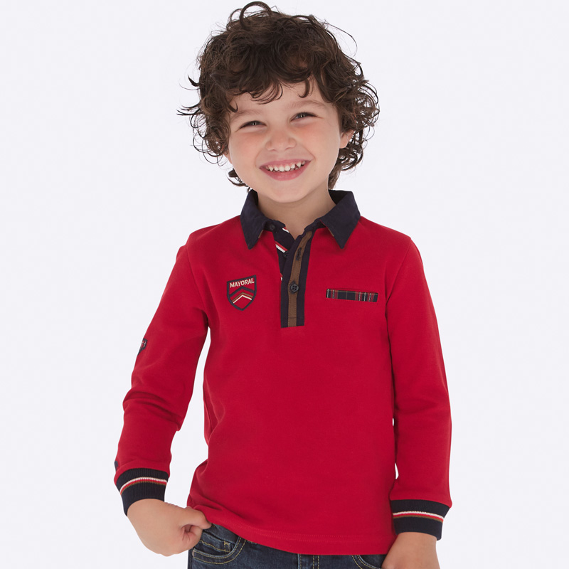 b77a400a2d63c Long sleeved formal polo shirt for boy Rojo - Mayoral