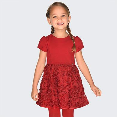 official photos 46ad2 eaf19 Vestito con fiori in rilievo bambina Rosso - Mayoral