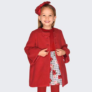 new styles 8e9c3 109de Vestito in velluto stampato bambina Rosso - Mayoral