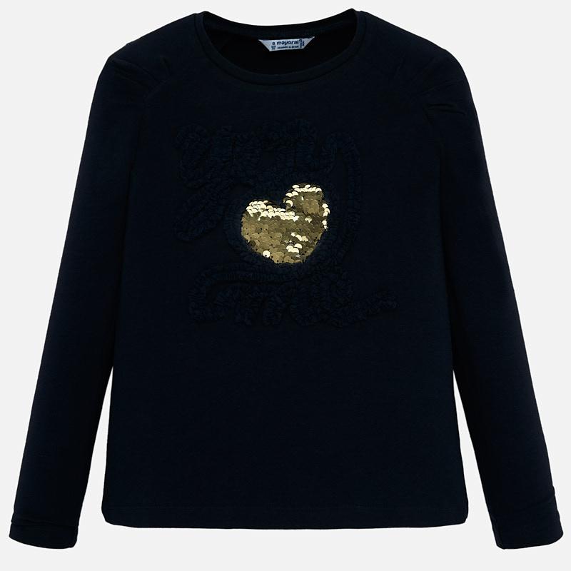be60bde7e7b Тениска с дълъг ръкав и двулицеви пайети за момиче Морскосин - Mayoral