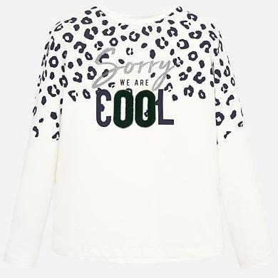quality design 1fd04 b9c4d Langarm Shirt Mädchen Aufdruck Rohweiß-Marine - Mayoral