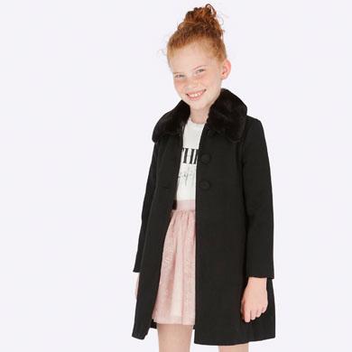 en venta 658ea e3e5c Abrigo paño cuello pelo niña Negro - Mayoral