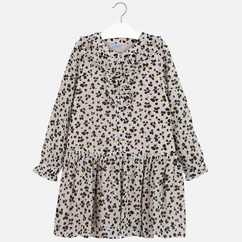 Sukienka z wzorzystej gazy dla dziewczyny Ecru
