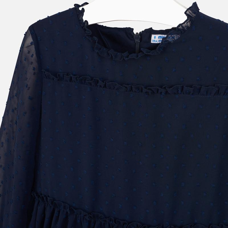 Sukienka z gazy i plumeti dla dziewczyny Granatowy