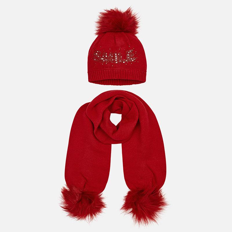 talla 40 2d9b5 93dff Conjunto gorro y bufanda letras niña Rojo - Mayoral