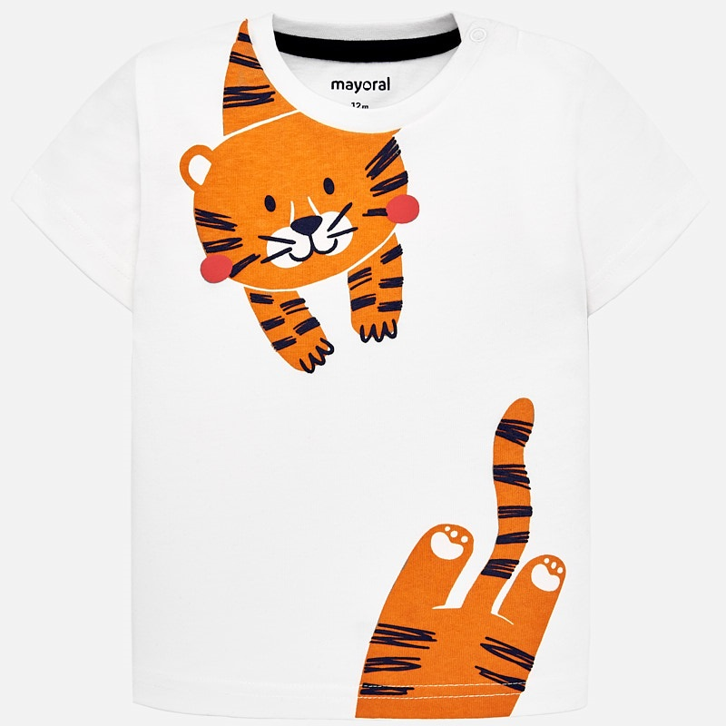 85aa40413 Short sleeved t-shirt with tiger print for baby boy Off white - Mayoral
