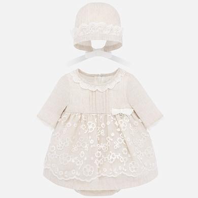 Vestido cerimónia com gorro bebé recém nascida Linho   Mayoral ®