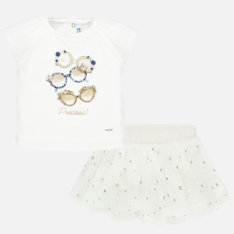 Conjunto camisola e saia tule bordada bebé menina Branco | Mayoral