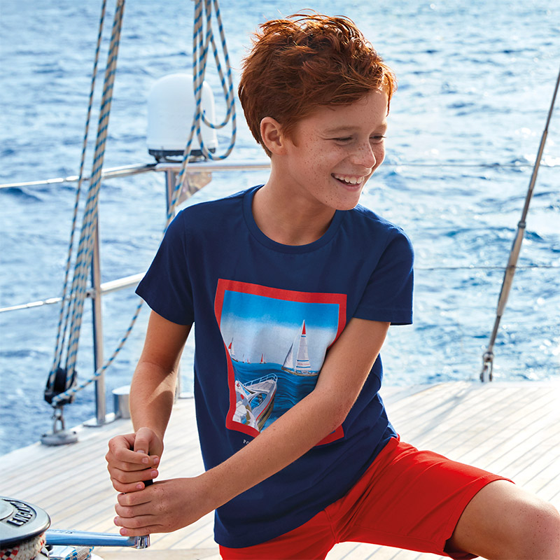 T-shirt manches courtes powerboat garçon indigo