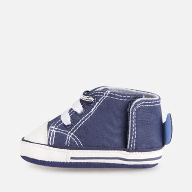 Sapatilhas para Recém Nascido com Cordões, Azul e Branco