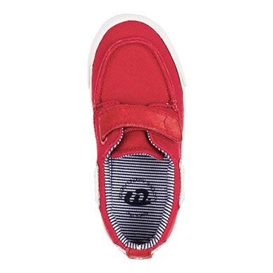 Buty w stylu marynarskim materiałowe Czerwony