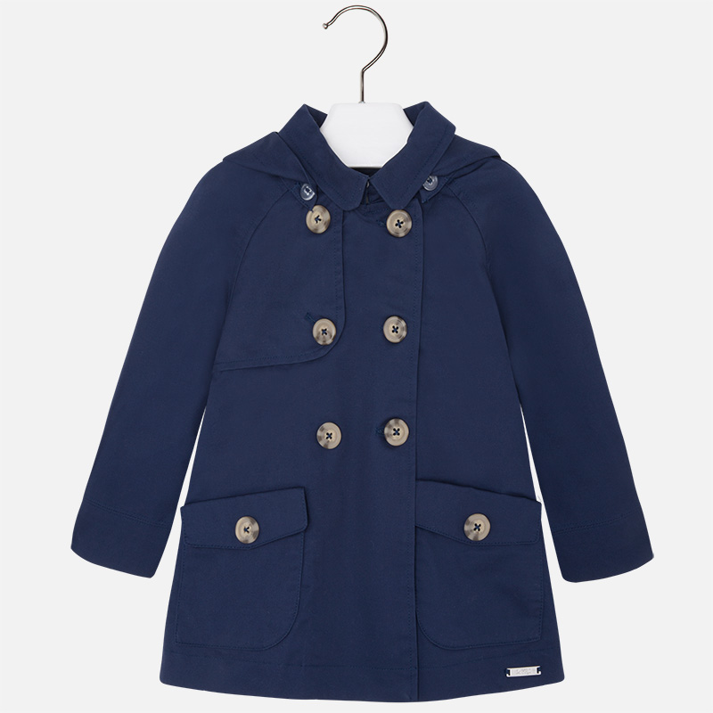 Girl trench coat with hood Navy blue - Mayoral