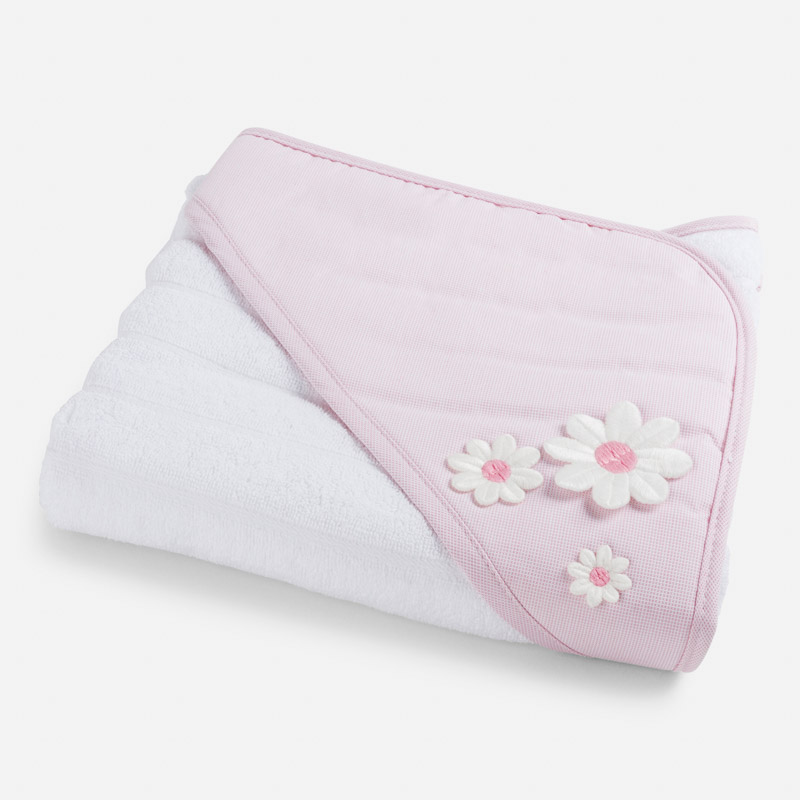 Hooded baby girl bath towel with embroidered guipure flowers Mayoral