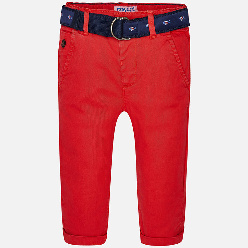 Image of Baby boy chino trousers with belt Mayoral