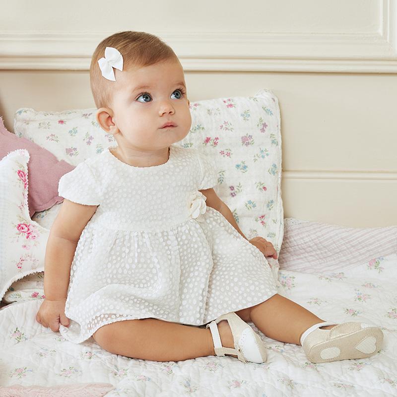 2-er Set Mädchen Baby-Kleid im Ausbrennerdesign Rohweiß - Mayoral