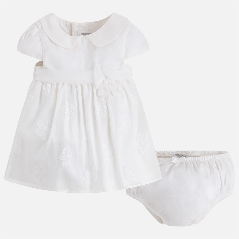 Two-piece baby girl dress with embroidered tulle Off white