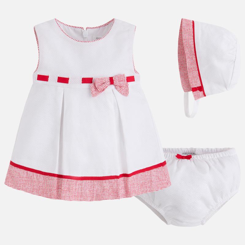 Baby-Kleid für Mädchen aus Pikee mit Kopfbedeckung Klatschmohn - Mayoral