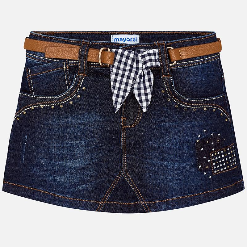 Mini jupe en jean avec ceinture fille Mayoral