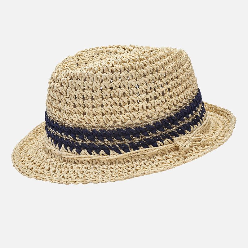 Hut für Mädchen aus Raphiabast mit Lurex Marine - Mayoral