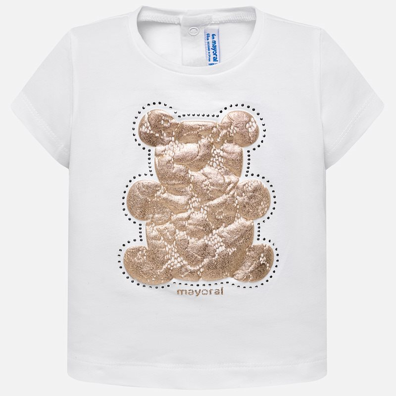 1f6fd2ebf98 Short sleeved t-shirt with lace bear design for baby girl White - Mayoral