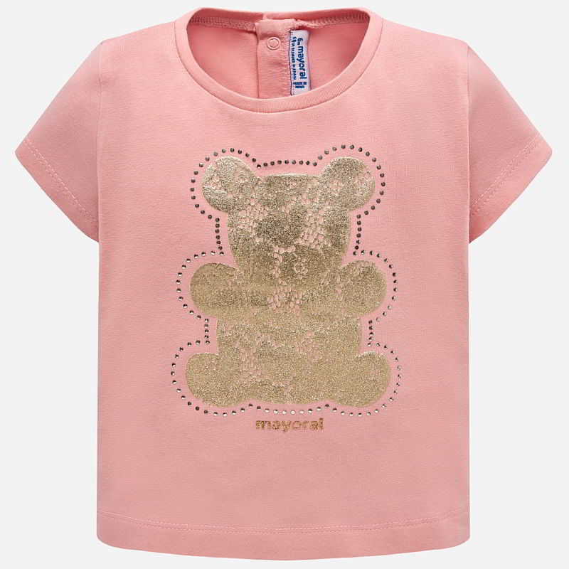 3fa0a3d774cf Short sleeved t-shirt with lace bear design for baby girl Pink - Mayoral