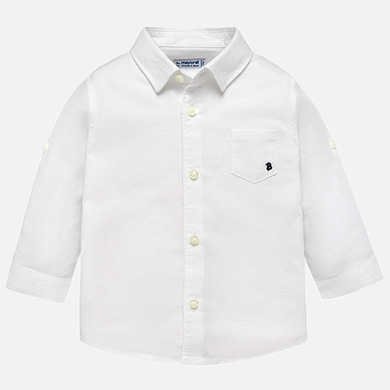 2eee82d8d8 Camisa manga comprida linho menino Branco - Mayoral