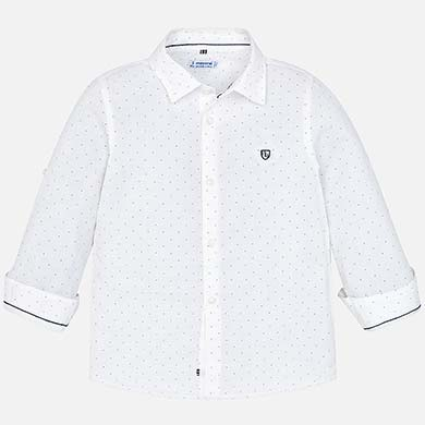 d7f4555ff01 Camisa manga larga lino niño Micro estampado-Blanco - Mayoral