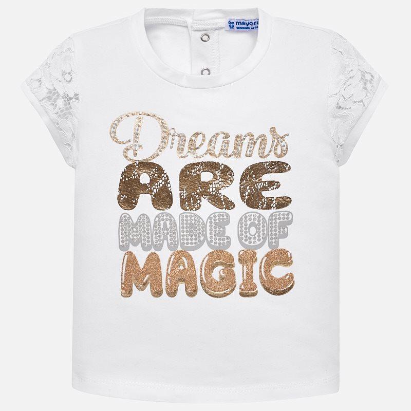 f746c2e6596 Μπλούζα κοντομάνικη γράμματα γκλίτερ baby κορίτσι Λευκό - Mayoral
