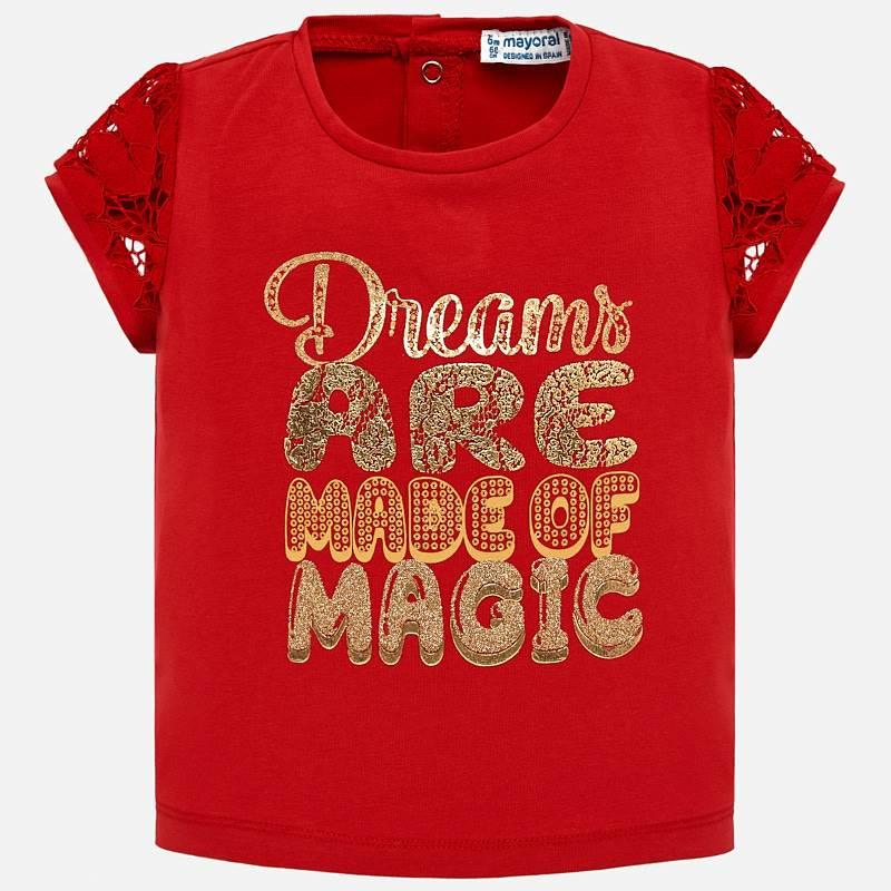 9775e1b04ece Μπλούζα κοντομάνικη γράμματα γκλίτερ baby κορίτσι Κόκκινο - Mayoral