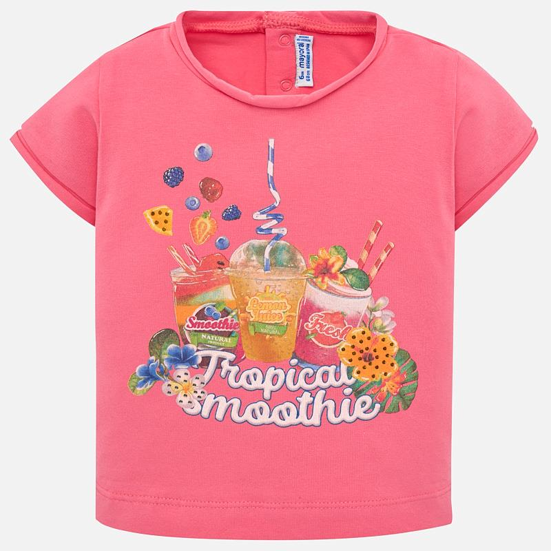 ab55a604b Short sleeved smoothie print t-shirt for baby girl Geranium - Mayoral
