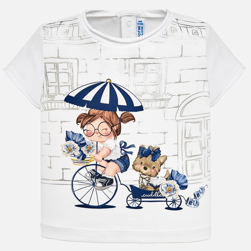 0ca05b335ea5 Short sleeved  doll  t-shirt for baby girl White-Navy - Mayoral