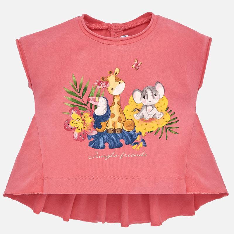 e6d401b67d0 Μπλούζα κοντομάνικη ασύμμετρη baby κορίτσι Γερανι - Mayoral