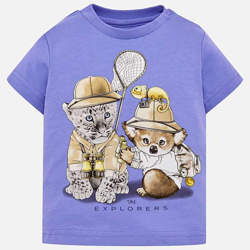 24c449d7d8c2b Short sleeved animals print t-shirt for baby boy Lavender - Mayoral
