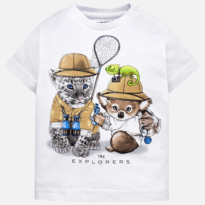 bcc29123b3855 Short sleeved animals print t-shirt for baby boy White - Mayoral