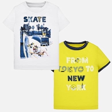 910bec6424 Short sleeved printed t-shirt set for baby boy