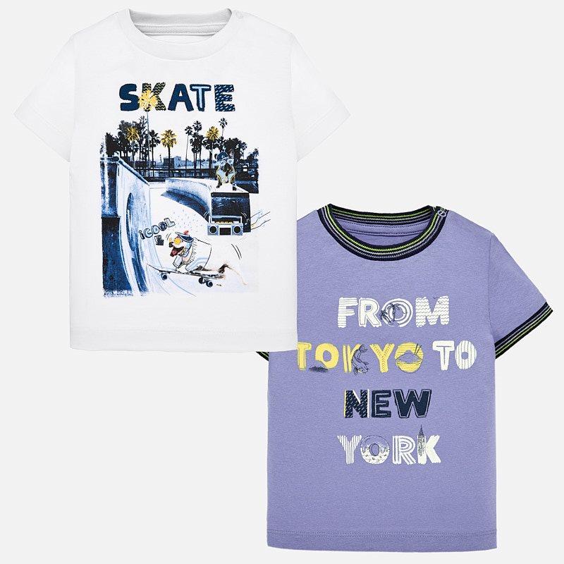 4478fd0526d9f Short sleeved printed t-shirt set for baby boy Lavender - Mayoral