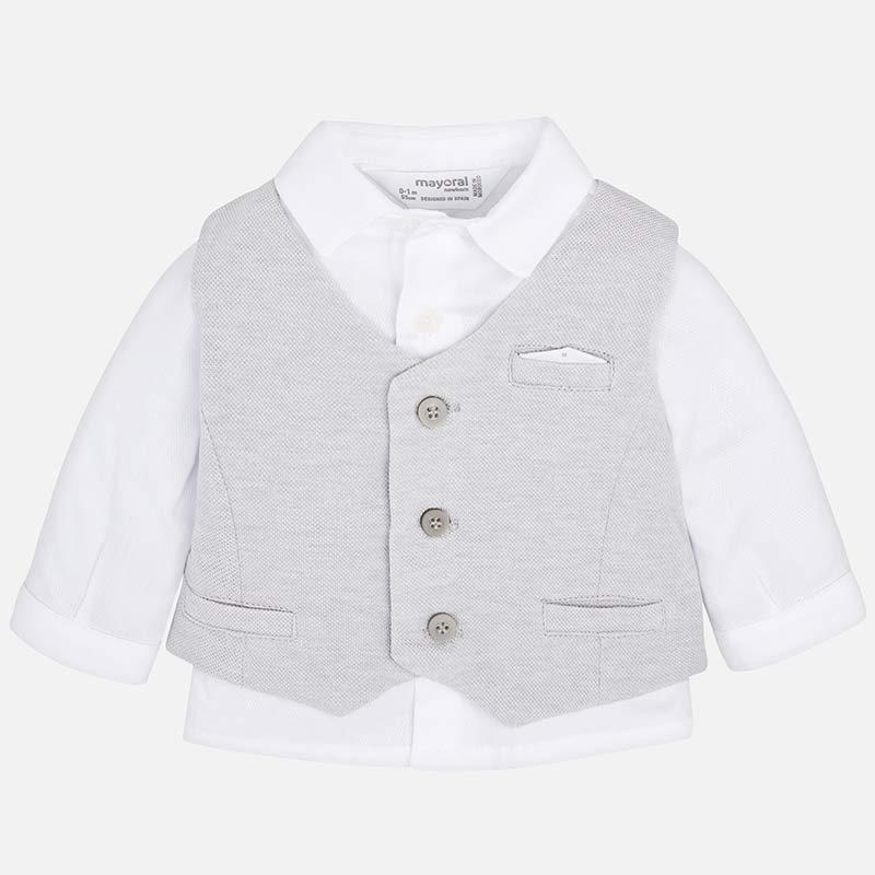 Completo camicia e gilet neonato Argento vigoré