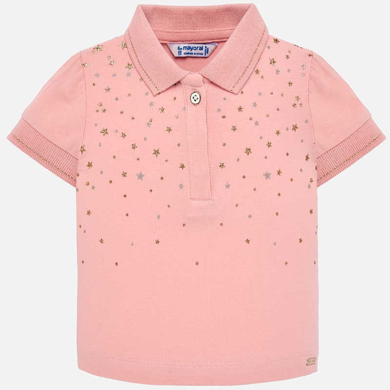 33991a28a Short sleeved star polo shirt for baby girl Pink - Mayoral