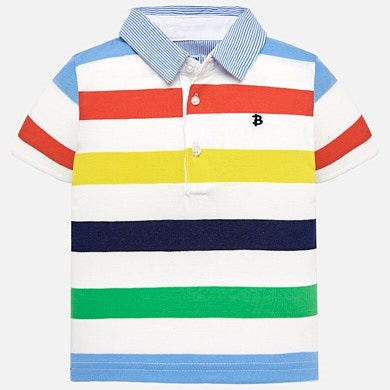 11482b88a Short sleeved striped polo shirt for baby boy Celery - Mayoral