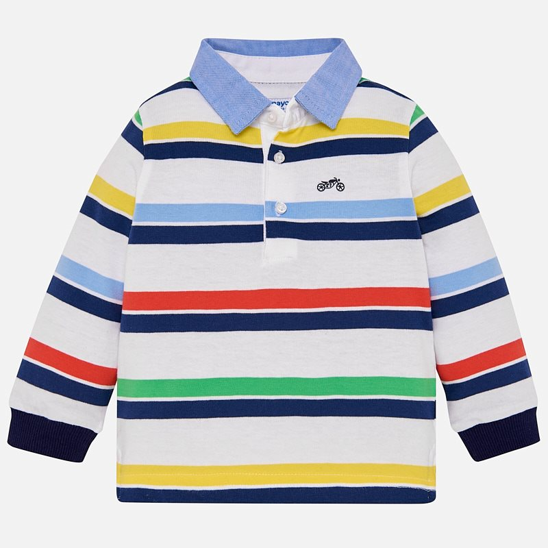 32ba1d0b Long sleeved striped polo shirt for baby boy Celery - Mayoral