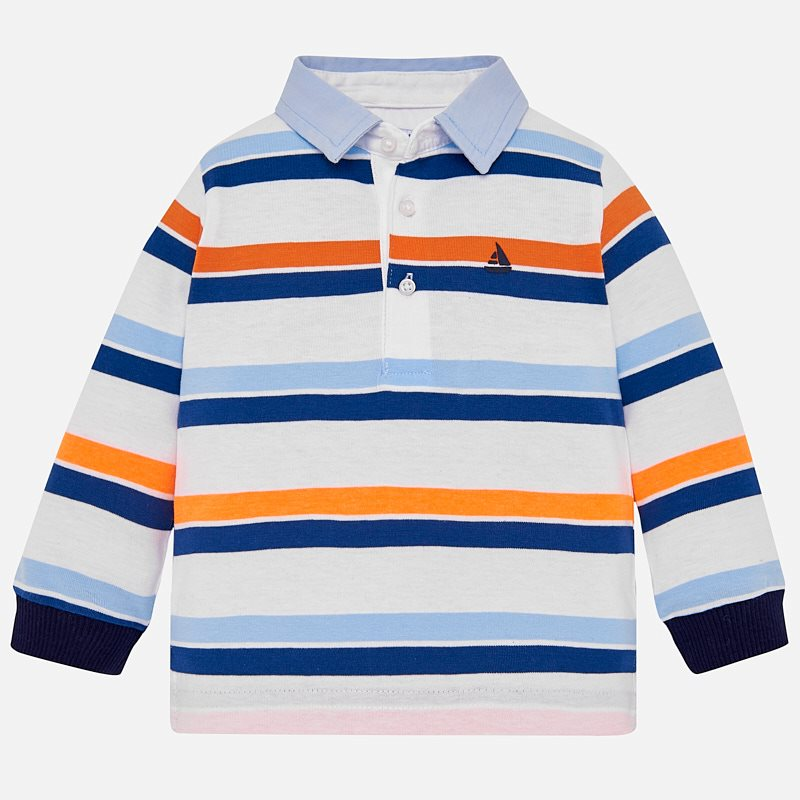 17871590 Long sleeved striped polo shirt for baby boy Passion fruit - Mayoral