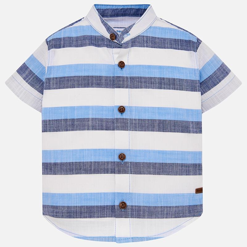 7f17f4d25160 Short sleeved mandarin collar shirt for baby boy Blue - Mayoral