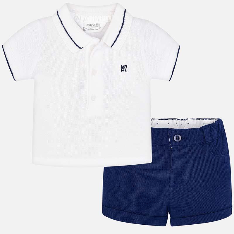 a8d190b53d39 Completo polo e pantaloncino neonato Navy - Mayoral