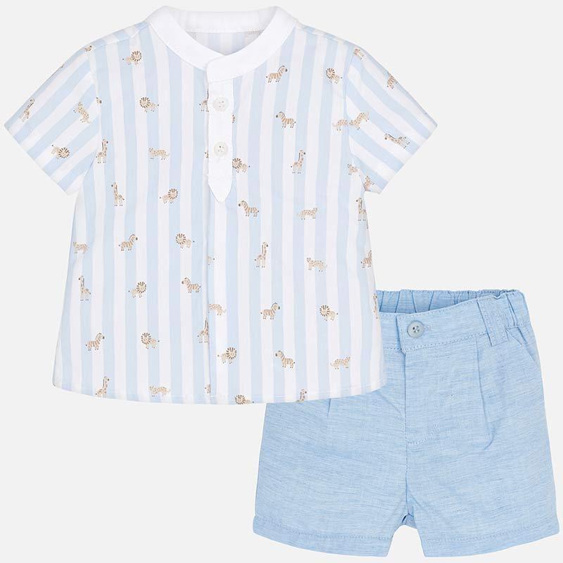 745eb7616fb69 Ensemble chemise rayures et short bermuda bébé nouveau-né Sky - Mayoral