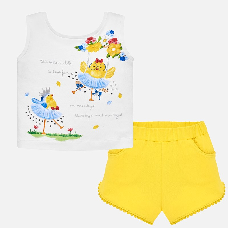 588dc1e1fb543a T-shirt and shorts set with print for baby girl Yellow - Mayoral