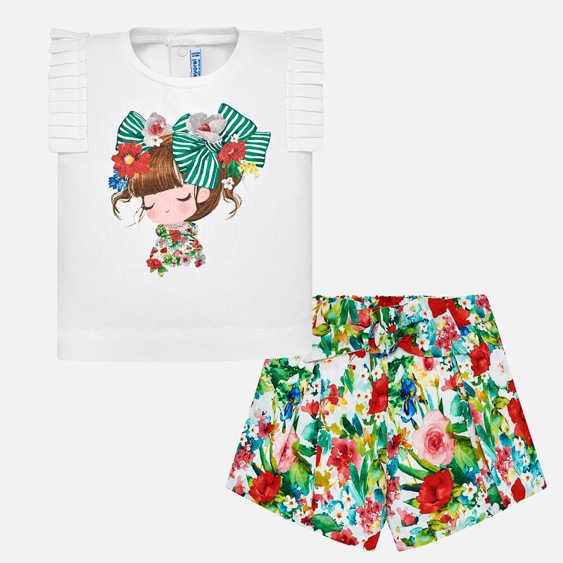 bc1f35162 Conjunto camiseta y bermudas flores bebé niña Verde - Mayoral