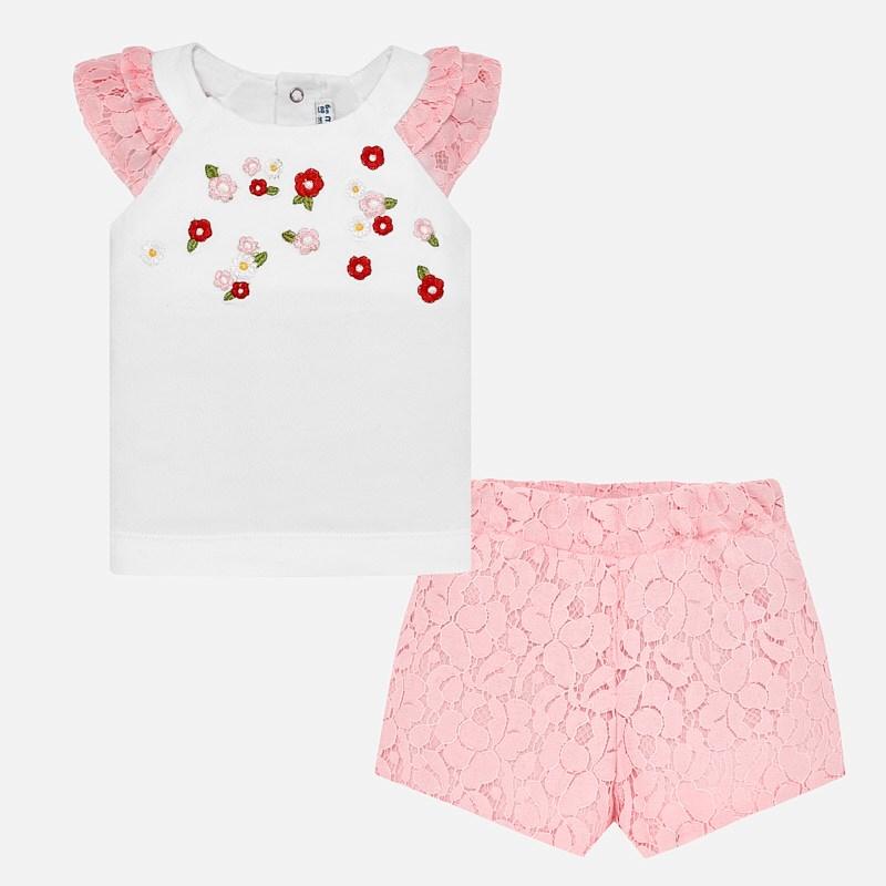 7b400f7e326a Σετ μπλούζα και βερμούδα δαντέλα baby κορίτσι Ροζ - Mayoral