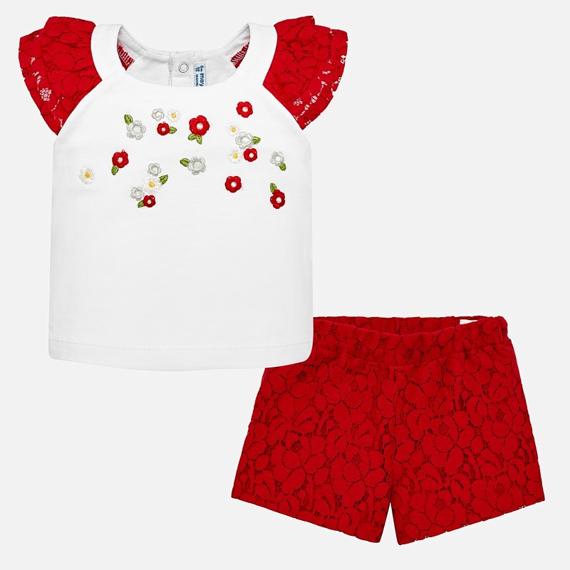 0bae3bac Lace bermuda shorts and t-shirt set for baby girl Rojo - Mayoral