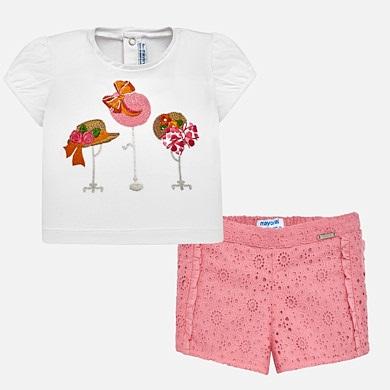 bd90974ff Conjunto camiseta y bermudas caladas bebé niña