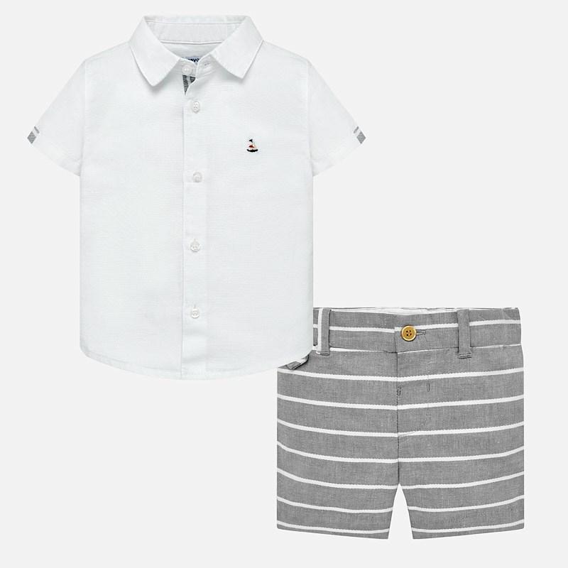 f265ee071 Conjunto camisa y bermudas lino bebé niño Gris - Mayoral